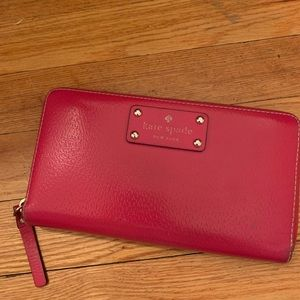 kate spade Bags - Pink, leather, zip-around, Kate Spade wallet